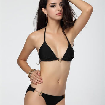 Black Halter Push Up Triangle Bikini