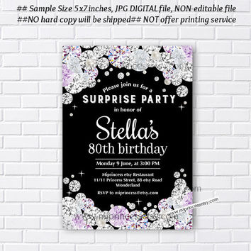 glam black invitation, elegant black card, Birthday party invite, Celebration invite,  Rhinestone , diamond theme - card 592