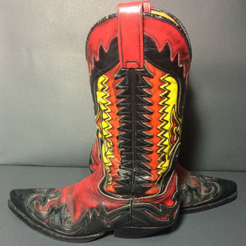 SENDRA Red Black Yellow Leather Cowgirl Cowboy Western Women's Boots Size 6.5