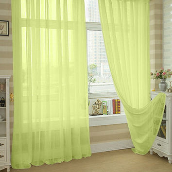 Valances Colors Sheer Voile Curtain Tulle Curtains Floral Tulle Voile Door Translucidus Window Curtain Home Window Decoration