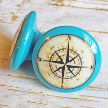 "ON SALE Nautical Knobs, Aqua Blue Handmade Drawer Pulls, Antique Style Compass Cabinet Pull Handles, 1.5"" Sea Dresser Knobs, Made To Order"