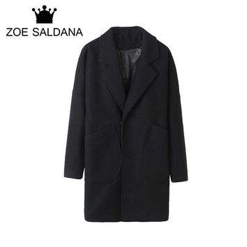 Zoe Saldana 2017 Men's Casual Wool & Blend Jacket Winter Solid X-Long Male Single Breasted Woolen Coats Windbreaker