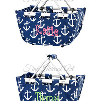 Mini Market Tote in Navy and White Anchor Print with Monogram