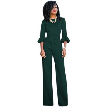 ae4e5737ffd 5 Colors Rompers Womens Jumpsuit 2017 Autumn Flare Sleeve Sashes
