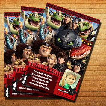 How To Train Your Dragon Toothless Thank You Card Invitation Cards 4x6, 5x7, Customized