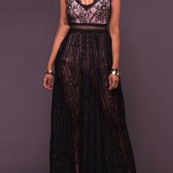 New Black Patchwork Lace Backless Deep V-neck Sheer Homecoming Party Masked Ball Maxi Dress
