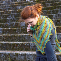 Hand knitted triangle lace shawl, pure wool, turquoise, yellow, gray, ready to ship