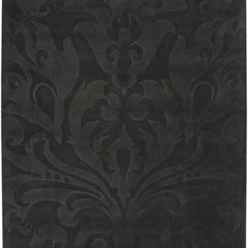 Sculpture Solids and Borders Area Rug Gray, Black
