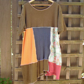 Funky Romantic Plus Size Color Block Baby Doll Dress/ Hemp Cotton Eco Tee Dress Upcycled T-Shirt 2X