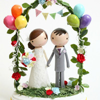 custom wedding cake topper - with balloons & bunting