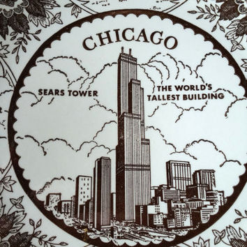 COOL VINTAGE CHICAGO Collectors Plate - Mid Century Collectors Plate - Chicago - Sears Tower - The Field Museum - John Hancock - Enco