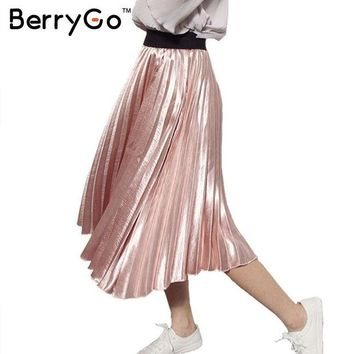 DCK9M2 BerryGo 2016 winter autumn elastic high waist skirt Casual smooth pink accordion pleated skirt All-match satin black women skirt