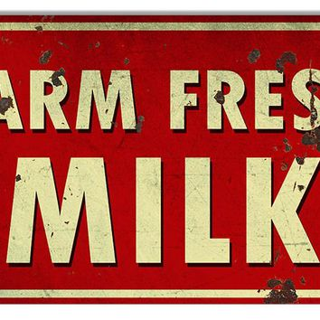Vintage Farm Fresh Milk Country Reproduction Metal Sign 8″ x14″