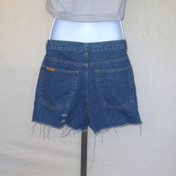 Vintage 80s CUTOFF DISTRESSED JORDACHE Frayed Denim Waist 28 Medium Women Stylish Jean Shorts