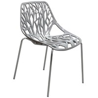 Pepper 4-Pack Accent Chairs in Grey Laser Cut Polypropylene (PP) w/ Chrome Leg