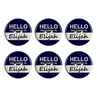 Elijah Hello My Name Is Plastic Resin Button Set of 6