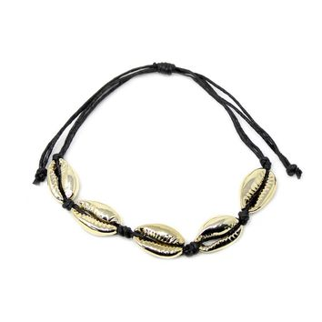 Gold Shell and Rope Bracelet