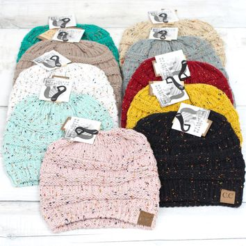 C.C. Beanie Messy Bun Speckled