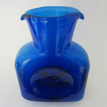 Blenko Cobalt Blue Mid Century Blown Art Glass Vase