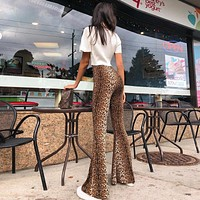 Women Fashion Retro Leopard High Waist Wide Leg Pants Bodycon Leisure Pants Trousers