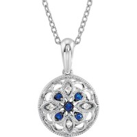 Sterling Silver Blue Sapphire & Diamond Granulated Filigree Necklace