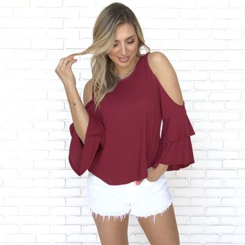 Let It Flow Jersey Blouse in Wine