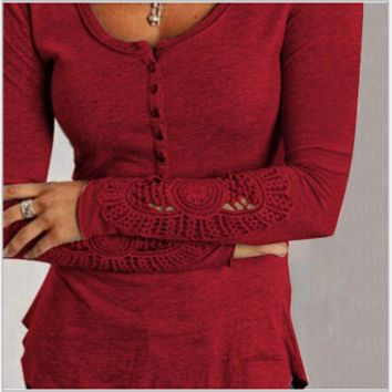Lace thin round neck long sleeve T-shirt lace sleeves Wine red