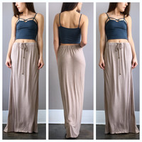 An Acid Wash Drawstring Maxi Skirt in Beige