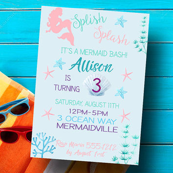 Mermaid invitation - Mermaid birthday invitation - Mermaid birthday - Under the sea invitation - Printable - Girls party invitation