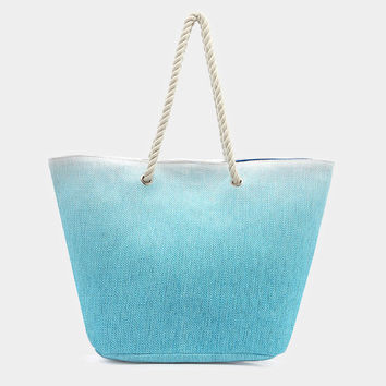 Blue Ombre beach tote bag with cotton rope handles, magnetic snap closure