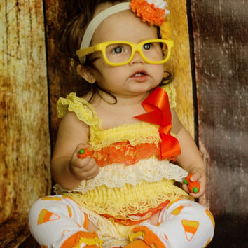 HALLOWEEN SALE-3 Pc. Candy Corn Halloween Petti Romper-Girls Halloween Costume-Halloween Photo Props-Halloween Birthday-Halloween Birthday