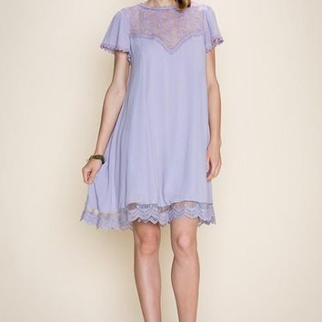 Cap Sleeve Lace Trimmed Dress