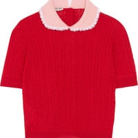 Miu Miu - Lace-trimmed cable-knit cashmere and silk-blend sweater