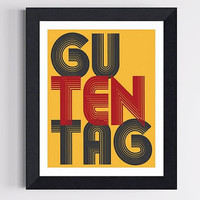 German Hello Art Print Guten Tag Good Day 8 X 10 by TheWallaroo