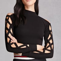 Rehab Caged Mock Neck Crop Top