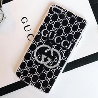GUCCI Trending Stylish Water Drill Diamond GG Letter Silicone Mobile Phone Case iphone 6 6plus iphone 7 7plus iphone 8 8plus iphone X +Soft Protective Case Black I12540-1