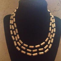 Vintage Trifari Gold Black Crystal Cleopatra Waterfall Necklace 1950s