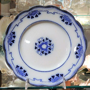 W H Grindley Lorne Flow Blue Plate Staffordshire England Antique 1900s Victorian Art Nouveau Porcelain Country Cottage Home Decor Farmhouse