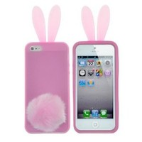 Leegoal(TM) Clear Pink Bunny Rabbit Ear with Furry Tail Stand Flex Matte TPU Case fit for the new iPhone 5 5S With Accessories Sreen Protector,Anti Dust Plug