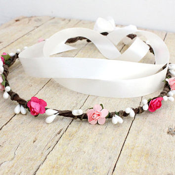 PARADISE Pink crown - Wreath for Flower Girl Romantic Fairy Headdress infant floral headband Woodland Wedding Birthday photo prop Pink Crown