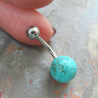 Round Turquoise Stone Belly Button Jewelry Belly Ring