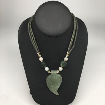 "55.6g,Double-Strand Green Nephrite Jade Beaded Carved Pendant Necklace,24"" NPH34"