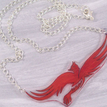 Red Pheonix Shrinky Dink Necklace- Silver Plated Chain- Great for Harry Potter Fans