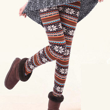 Mixed Colors Snowflake Print Pearl Velvet Leggings