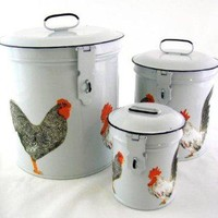 French Country Canister Set ~ White Retro Enamel