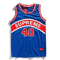 Supreme Popular Unisex Loose Print Mesh Comfortable Breathable Sleeveless Hip Hop Basketball Vest Top Blue I12734-1
