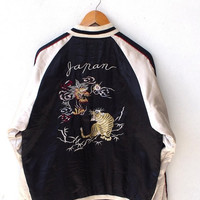 25% SALE Vintage SUKAJAN Japan Gold Tiger Roar Fighting Dragon 80's Embroidery Okinawa Satin Varsity Jacket L