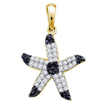 Black Diamond Fashion Pendant in 10k Gold 0.32 ctw