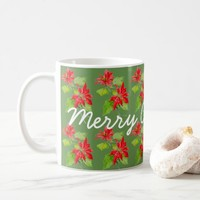 Vintage Poinsettia Merry Christmas Pattern Coffee Mug