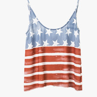 US Flag Printed Tank Top